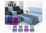 Colcha Foulard Multiusos Jacquard modelo Nudos para sofá y para cama, Algodón-Poliéster, 1 plaza....