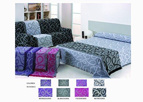 Colcha Foulard Multiusos Jacquard modelo Nudos para sofá y para cama, Algodón-Poliéster,...