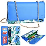 Kro O Nokia Lumia 1320, 1520 Phone Case | 2016 Electric Blue/Green Floral Beach Crossbody Wallet