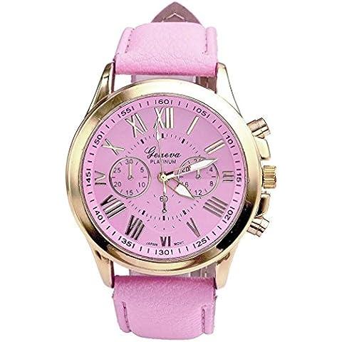 Amlaiworld Orologio da polso per Donne, Moda Geneva romani finto cuoio orologio da polso analogico al quarzo (rosa)