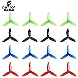 DroneAcc 16Pcs 50453Lames Hélices 12,7cm Tri Lame Props pour 220422052206–2306Moteurs Brushless FPV Racing Drone Quadcopter ( Transparent-Red, Noir, Transparent-Blue )