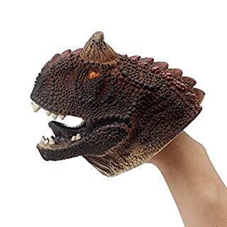 KAJA Soft Rubber Realistic 6 Inch Kids Animal Hand Puppets Realistic Role Play Toy for Toddlers (Carnotaurus)