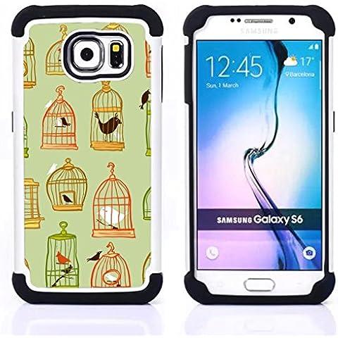 Hypernova Híbrido Heavy Duty armadura cubierta silicona prueba golpes Funda caso resistente Para Samsung Galaxy S6 / SM-G920 [Jaula de color verde oscuro en colores pastel Significado