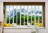 Olimpia Design Fototapete Gebirge Fensterblick, 1 Stück, 10658VEXXXL