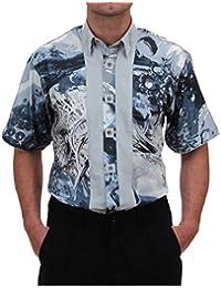 773019de8e0e Designerhemd in Grau Gemustert, für Herren QUALITÄT, HK Mandel Freizeithemd  Kurzarm Normal Nicht Tailliert