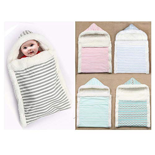 AZUO Newborn Child Package Swaddle Cotton Thicken Keep Warm Sleeping Bag Child Package Quilt0-6 Months,greenstripes,M