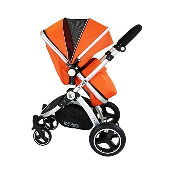 i-Safe System - Orange Trio Travel System Pram & Luxury Stroller 3 in 1 Complete with Car Seat iSafe ABSOLUTELY 100% SATISFACTION GUARANTEE! With Manufacturers 12 Months Warranty*super Amazing Quality! One Of The Very Best Pram Systems In The UK! A Truly State Of the Art Product Built With The Parent And Baby In Mind! Complete With Boot Cover, Luxury Liner, 5 Point Harness, Shopping Basket With Closed Ziped Top, High Quality Luxury Car Seat High Quality Rubber Inflatable Wheels With The Full All around Soft Suspension For That Perfect Unrivalled Ride. 3 in 1 Stroller / Pram Extremely Easy Conversion To A Full Size Carrycot For Unrivalled Comfort 6