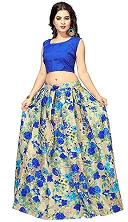 Nplash Fashion Women's Satin Silk Lehenga Choli (Blue and Chicku, Free Size)