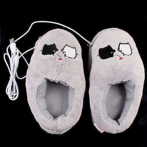 Kingzer Cartoon Cute Piggy Zapatos de peluche calentador de pie USB PC Calefacción Eléctrica Zapatillas Gris