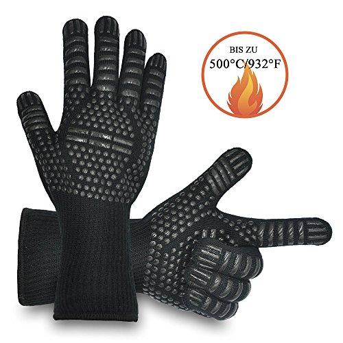 LULUSILK Anti-Rutsch Hitzebeständige Grillhandschuhe bis zu 500°C, 1 Paar, Hochwertige Silikon Topfhandschuhe Ofenhandschuhe mit 5 Fingern Design für Barbecue, Backofen, Mikrowellenherd, Schwarz