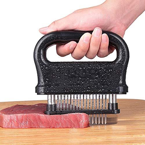 Attendrisseur de viande 48 Attendrisseur de lames en acier inoxydable pour cuisiner Outil de cuisine professionnel pour bœuf, steak, poulet, porc et veau, facile à saisir et à nettoyer,Black