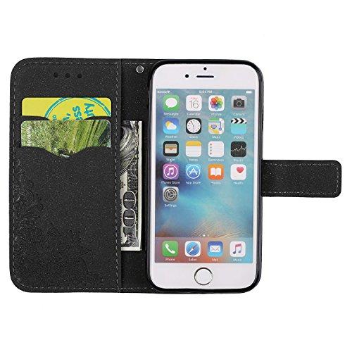 Glitter Sparkles Flower Embossing Style PU Ledertasche Geldbörse Tasche mit weichem TPU Back Cover & Lanyard & Kickstand für iPhone 6 & 6s ( Color : Red ) Black