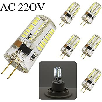 G4 AC 220 V/AC 12V 5W 400lm smd 3014 bombillas de 64-LED Lámparas Luces de ahorro de energía 6000-6400Kelvin (Blanco fresco) (5 piezas, AC 220 Volt)