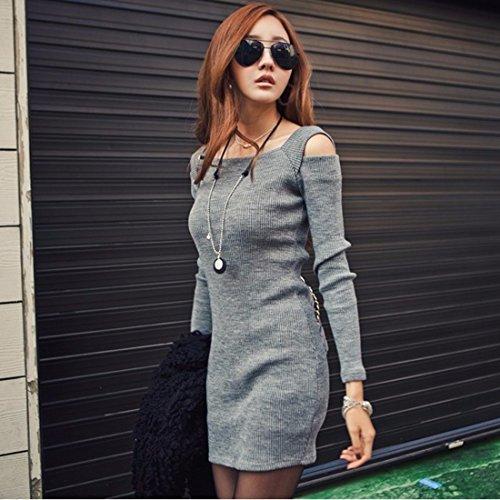 Robes confortables Femmes Mode manches longues en coton Slim Bodycone Mini-robe Gris