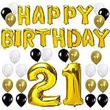 KUNGYO Letras Tipo Balón Doradas Happy Birthday+Número 21 Mylar Foil...