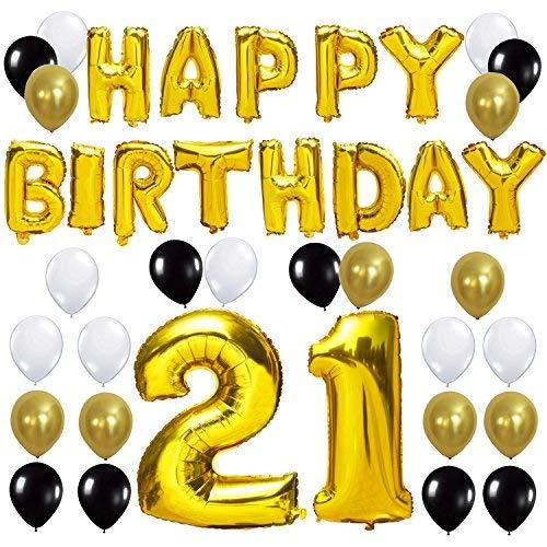(KUNGYO Happy Birthday Buchstaben Ballons +Nummer 21 Mylarfolie Ballon + 24 Stück Schwarzes Gold Weiß Luftballons -Perfekte 21 Jahre alte Geburtstagsfeier Dekoration Lieferungen)