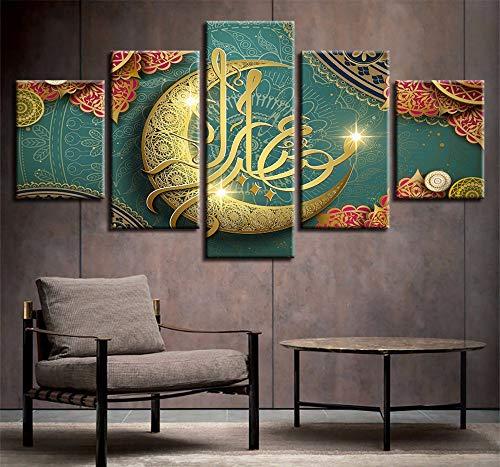 Wsxxnhh 5 Stück Islam Allah Der Koran Goldener Mond Gemälde Leinwand Hd Gedruckt Poster Wohnzimmer Dekor Rahmen Wandkunst Muslimische Bilder-20Cmx35/45/55Cm,Without Frame