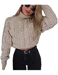 Autunno e Inverno Corto Maglioni Casual Collo Alto Maglie a Manica Lunga  Sweater Cime Pullover Donna a6fdd6e30c7