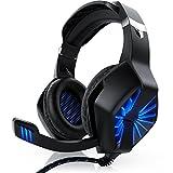 CSL - Gaming Headset für PC | inkl. Mikrofon/Kopfhörer | USB Gamer Headphone | Kabelfernbedienung/Externe Soundkarte | Für PC sowie PS4 | schwarz/blau
