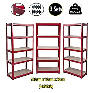 Regal mit 5 Ebenen, verstellbare Ebenen, Boltless-Metall, 175 kg Kapazität pro Regal, 180 x 90 x 40 cm (HxBxT), Rot