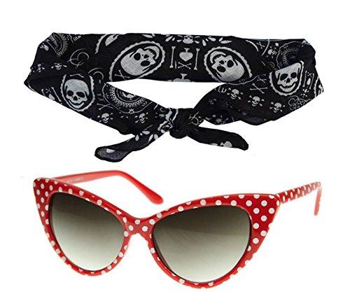 ye Sunglasses Black Pink Red White + Bandanna Tie Headband Set (Black Cat Fancy Dress)