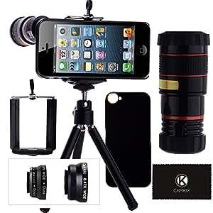 Kit d'objectifs pour iPhone 5 / 5S incluant / Téléobjectif 8X / Objectif Fisheye / Objectif Macro / Objectif Grand Angle / Support Universel pour Téléphone / Mini Trépied / Étui rigide pour iPhone 5 & 5S Apple / Pochette pour Téléphone en Velours / Chiffon de nettoyage en micro-fibre CamKix - Accessoires et Supports de qualité pour l'appareil photo de votre iPhone 5 ou 5S
