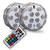 B.K.Licht LED Unterwasserlicht | Unterwasserbeleuchtung | Teichbeleuchtung | Unterwasserleuchte | inkl. Fernbedienung | Farbwechsel | RGB und Wasserdicht | Wasserbeleuchtung für Vase | Dekoration