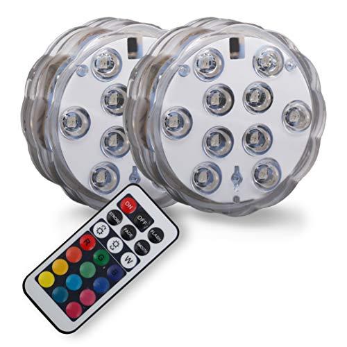 B.K.Licht LED Unterwasserlicht   Unterwasserbeleuchtung   Teichbeleuchtung   Unterwasserleuchte   inkl. Fernbedienung   Farbwechsel   RGB und Wasserdicht   Wasserbeleuchtung für Vase   Dekoration