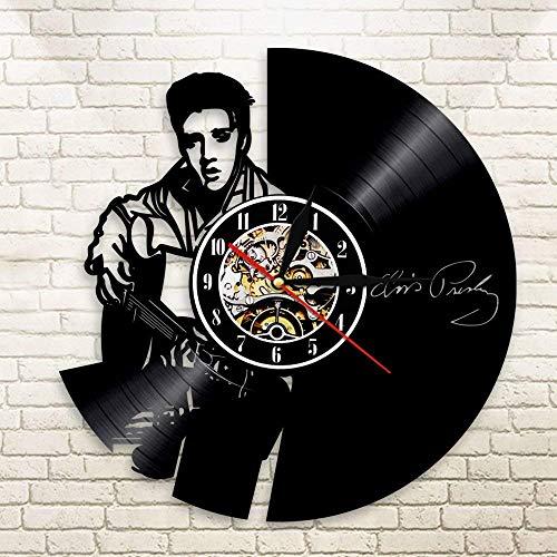 GuoEY 1 Stück Elvis Presley Vintage Handmade LP der König des Rock N Roll Vinyl Clock Home Decor Datensatz Wanduhren Kreative Elvis GeSchönke Keine LED -