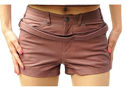 Diesel Black Gold Leder Leather Hotpants Shorts Shulis Calzoncini Flieder (Lila) Gr IT 38 (EU 32/36) - Diesel Damen Leder