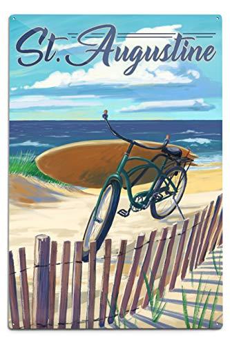 Lantern Press St. Augustine - Beach Cruiser on Beach 12 x 18 Metal Sign Multi - Cruiser Aluminium Beach
