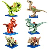 Dinosaur Toys Minifigures,6Pcs Dinosaur Building BLocks Action Figures Set For Kids Adults