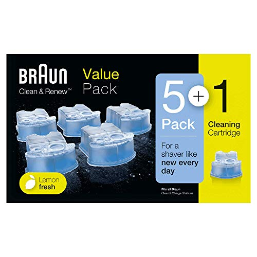 Braun Clean & Renew - Pack de 5+1 cartuchos de recarga de líquido limpiador, estación de limpieza Clean & Charge