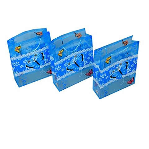 Kuber Industries™ Printed Blue Butterfly Design Small Thick Plastic Bags Gift Carry Bags (12*9*3 Inches, Pack of 3) - KI19547