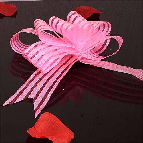 (10pcs) Ribbon Pull Bogen künstliche Blume Haus Hochzeitsfeier Auto Dekoration Handwerk Blumen, Pulver (Bögen Ribbon)