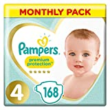 Pampers Premium Protection Size 4, 168 Nappies, Pampers' Softest Comfort, Recommended by British Skin Foundation, 9-14 kg