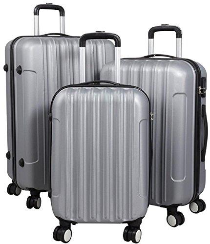 Hartschalen Koffer Trolley Reisekoffer Reisetrolley Handgepäck Boardcase Vigo 3tlg. (Silber)