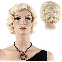 STfantasy peluca rubio corto rizado 20s onda ondulado con capas elegante moda wig para Carnaval Disfraz