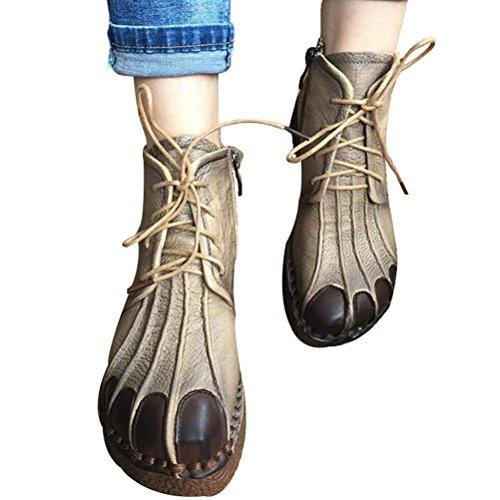 Vogstyle Femmes Main en Cuir Véritable Mère Chaussures Style-1 Toison Kaki