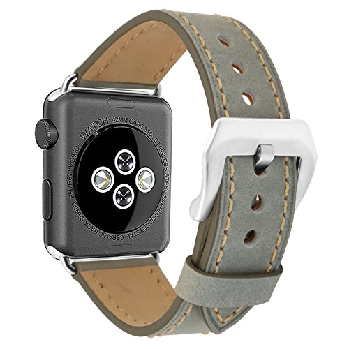 omyzam Apple Watch Armband 42mm Ersatzarmbänder Leder Uhrenarmbänder Fit Apple Watch Series 3, 2, 1, Sport und Editionsversionen Grau (2 Leder Damen)