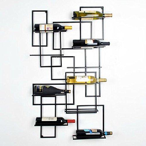 IAIZI Wine Shelf Weinregale an der Wand befestigte Küche-Stab-Keller-Keller-Hauptverzierung, 9 Flaschen-Eisen-Speicher-Raum-Anzeigen-Speicher-Stand, schwarz