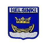 Shopiyal Städte Flagge Aufbügeln Oder Aufnähen auf Motiv, Helsinki, 7.2 x6cm