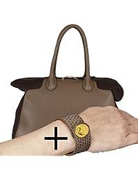 SUPER OFFRE 2 EN 1:BELUCIA DESANO Grand Sac porté main,Sac à main,super doux véritable nappa cuir de mouton,Bicolore Brun + GRATUIT BELUCIA LYRA bracelet,véritable cuir de serpent,Brillant Brun