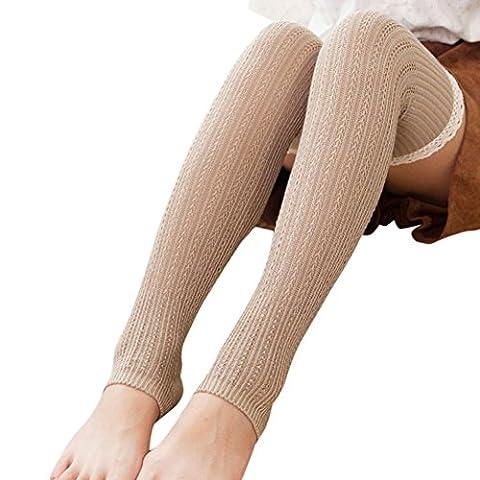 Vovotrade Femmes Dentelle Tricotées Longue Chaussettes de Bottes Cuisse de Genou Haute Bas Chaud (Kaki)