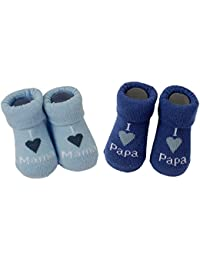 2 PAAR Erstlings-Söckchen im Geschenkset immer 1 Paar I love Mama plus 1 Paar I love Papa
