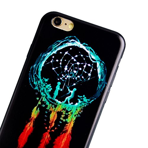 TPU Custodia Morbido per iPhone 6 Plus / iPhone 6S Plus (5.5 pollici), HB-Int 3 in 1 Nero Disegno Elegante borsa Custodia in Silicone Gel Accessori di Protettiva Cassa Caso Anti Scivolo Bumper Coperti Dreamcatcher