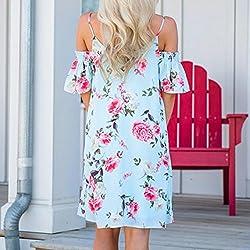 Kanpola Women Summer Casual Print Spaghetti Strap Down Flounce Swing Midi Dress