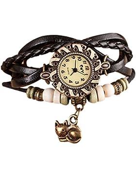 Sunnywill Neue Mode Quarzwebart um Leder Katze Armband Damefrauen Armbanduhr für Frauen Mädchen Damen