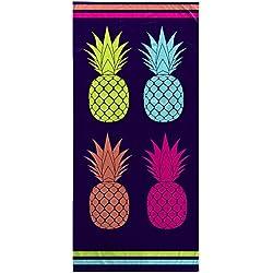 Ligne Décor toalla de playa 70x 150cm esponja terciopelo imprime piña Cool, algodón, multicolor, 150x 70cm