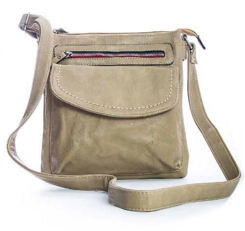 - 51xhZEFD PL - Big Handbag Shop Womens Faux Leather Cross Body Bag (Nude)